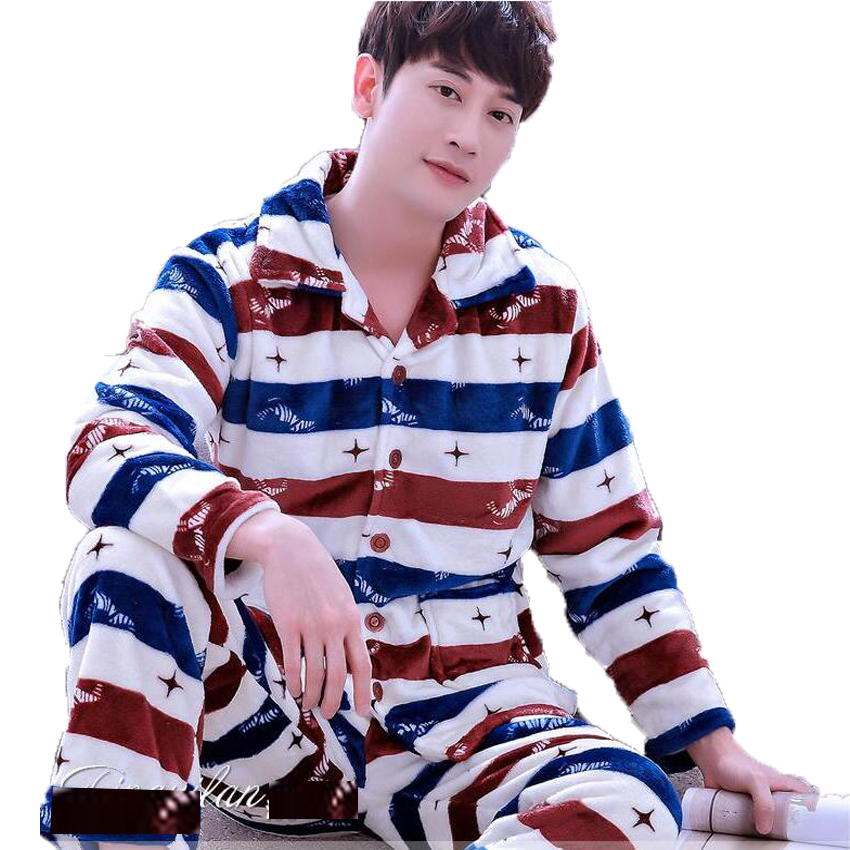 Winter Pajamas Men Thick Coral Fleece Man Pajamas Sets O-neck Long Sleeve Pyjamas For Men Sleepwear Warm Pajamas Male Homewear #5