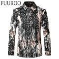 Camisa de los hombres 2016 Nuevo Cocodrilo de Impresión Camisas de Los Hombres de Otoño de Moda Marca Casual Manga Larga Camisas CBJ-T0071