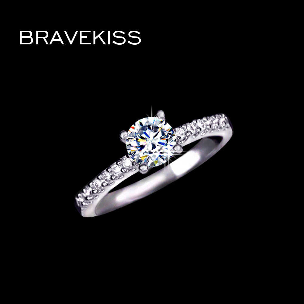 BRAVEKISS classic cubic zircon wedding bridal band round crystal engagement solitaire rings for women alliance jewel BUR0031