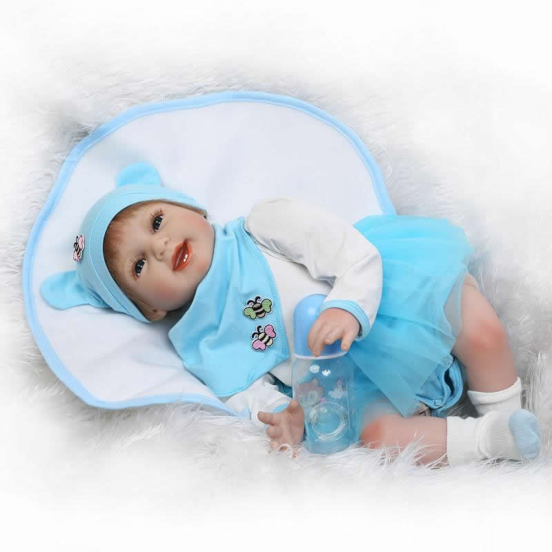 Smile Reborn Girl with Blue Dress 22'' Lifelike Baby Dolls Soft Silicone Fashion Kids Toy Xmas Gifts Reborn Baby Doll For Sale smile reborn girl with blue dress 22 lifelike baby dolls soft silicone fashion kids toy xmas gifts reborn baby doll for sale