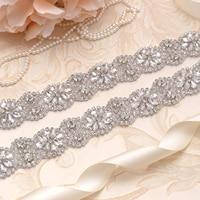 MissRDress Long Bridal Belt Silver Flower Rhinestones Wedding Belt Crystal Stain Jeweled Sash For Wedding Accessories JK818