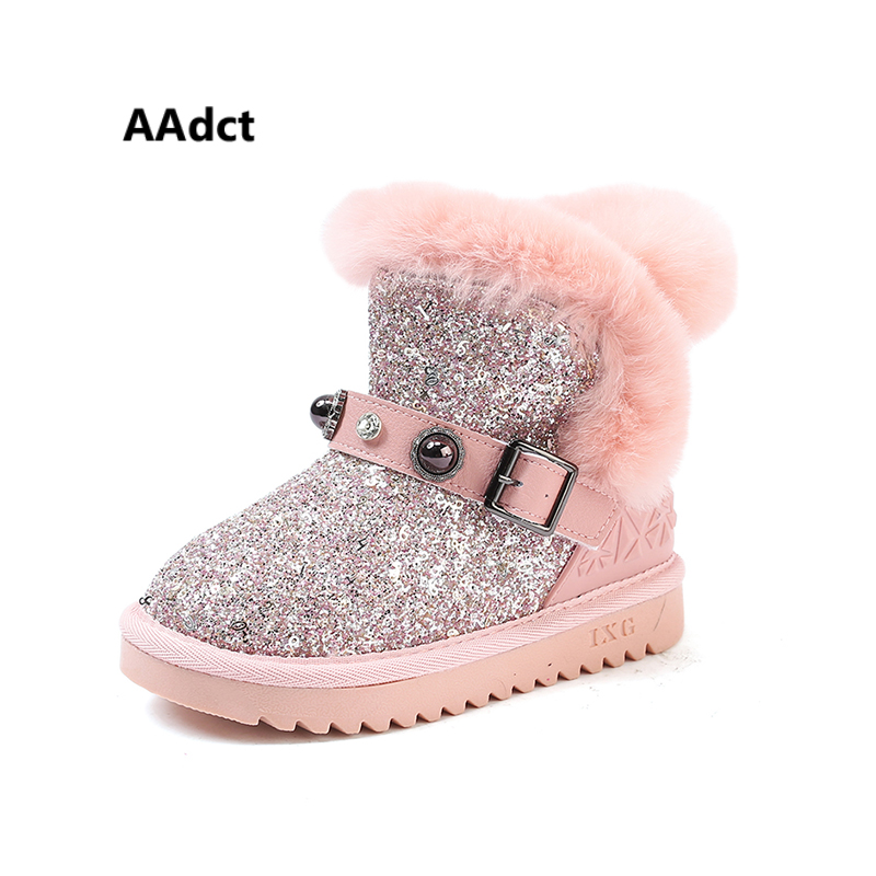 AAdct Cotton warm snow boots for little girls New fashion baby glitter girls boots 2018 Winter shinning little kids boots aadct cotton warm children snow boots for glitter girls new fashion shinning short girls boots 2018 winter kids boots