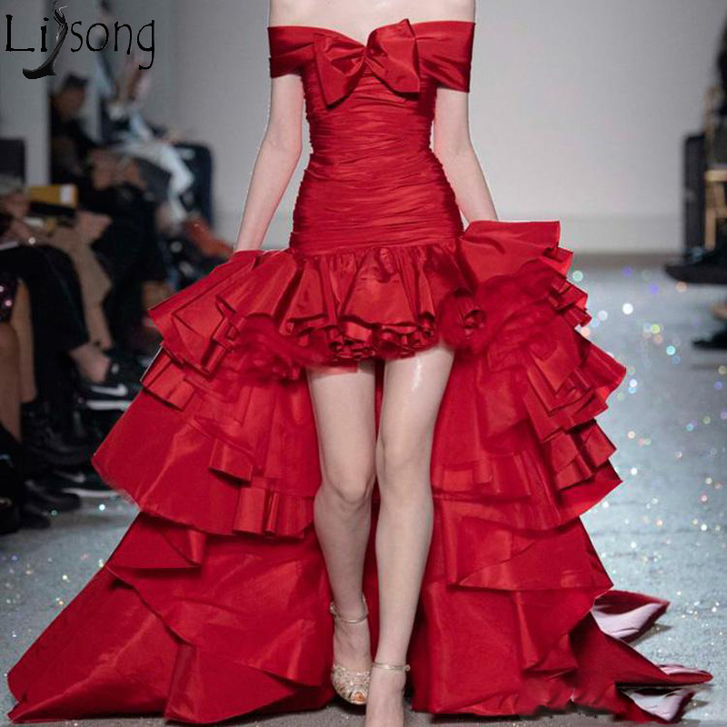 Fashion High Low Prom Dresses 2019 Red Off The Shoulder Chic Evening Party Gowns Tiered Ruffles Hi Low Formal Dress With Bow