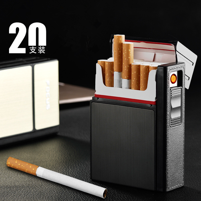 Image 2 - 2018 New Cigarette Case USB Lighter Rechargeable Electronic Cigarettes Box Holder Turbo Lighter Palsma Pulse-in Cigarette Accessories from Home & Garden