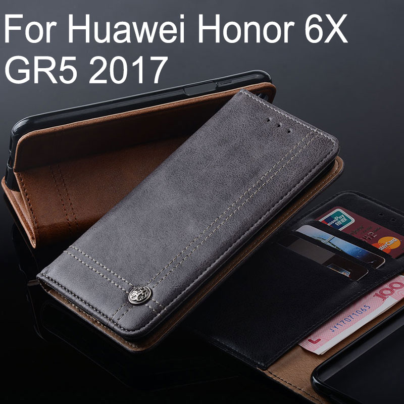 for huawei honor 6x case Luxury Leather Flip cover with Stand Card Slot Cases for huawei honor 6x GR5 2017 funda Without magnets