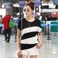 4 стиль 5 цвет 2016 лето женщины бат модальные короткими рукавами Футболки o шеи лоскутное женская мода топы