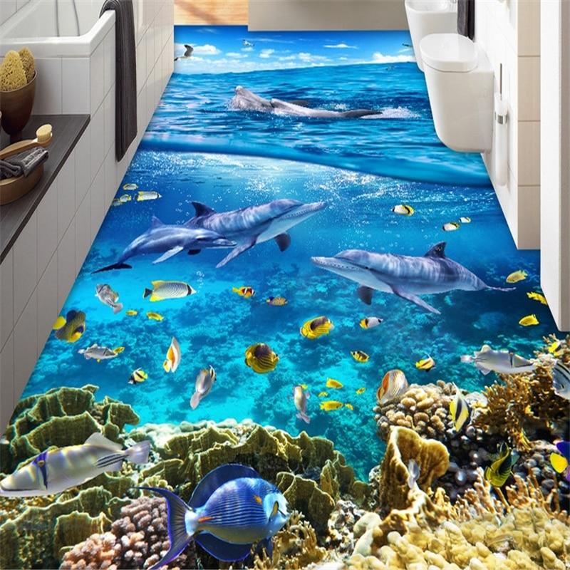 beibehang photo wallpaper room mural beauty PVC self-adhesion floor wallpaper 3d waves shells beach sea star bathroom wall paper