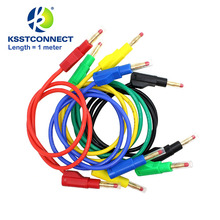 TL470G 5pcs 1.0meter High Quality 13AWG2.5seq mm flexible silicone test leads 4mm male retractable plug stackable leads