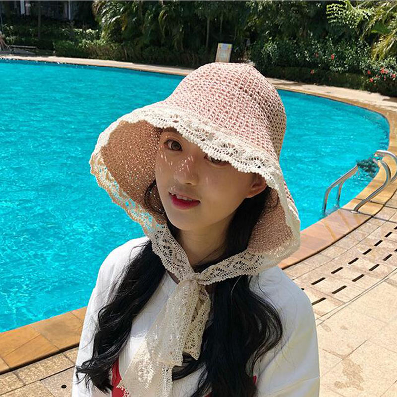 Señoras verano nueva hueco transpirable burr Rafia sombrero de paja de ala  de las señoras playa 78f255ca120
