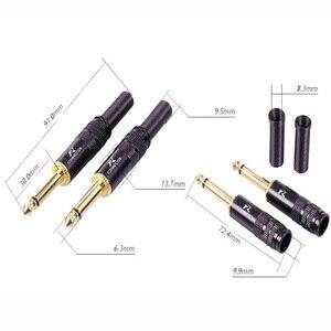 Image 5 - 10 sztuk/partia 2 polak 6.35mm wtyczka mono ze sprężyną pozłacane 1/4 Cal męskie złącze mikrofon 6.3mm złącze drutu hurtowni