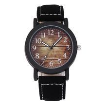 цена на relogio Vintage Men Wooden Grain Pattern Arabic Numbers Quartz Analog Casual Wrist Watch montre homme