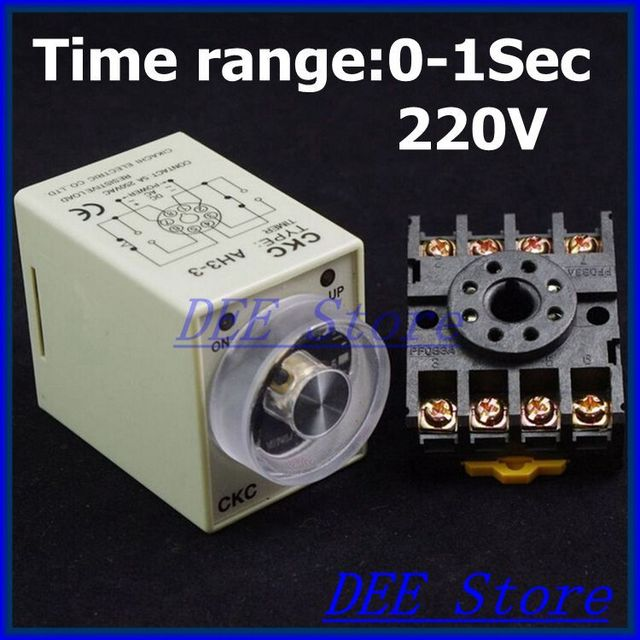 Power on delay 220V AC AH3 3 Timer 0 1 second Time Relay With PF083A