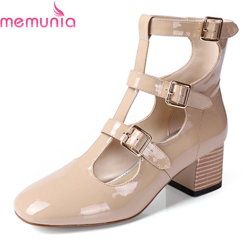 MEMUNIA spring autumn fashion sexy square toe genuine leather women pumps thick high heels buckle leisure ladies shoes memunia spring autumn fashion high