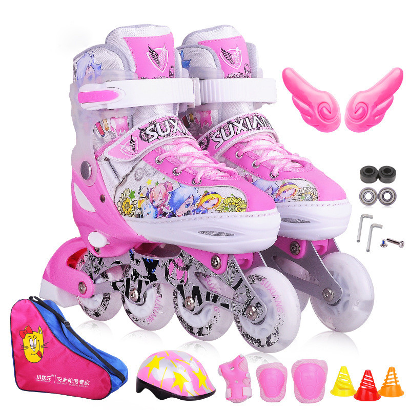 CHildren Professional Roller Skate Shoes Protective Suit For Kid Inline Daily Street Brush Skating Adjustable PU Wheel Shoe IA94 roller skate classic black double row skating shoes pulley shoes 4 wheel shoes outdoor indoor riding asphalt road roller skate
