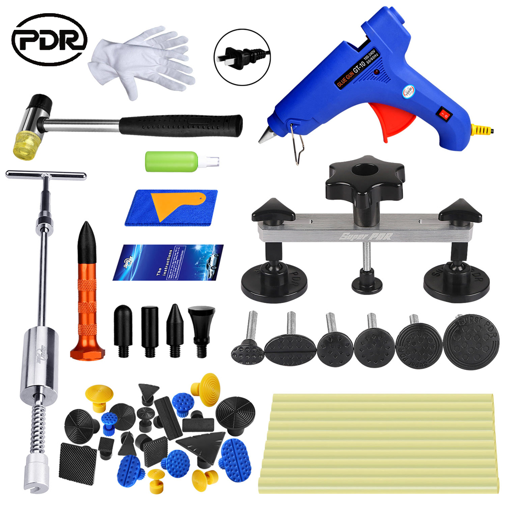 PDR Tools Kit Dent Removal Paintless Dent Repair Slide Hammer Mini Lifter Glue Tabs Suction Cup Fungi Hammer Tools pdr dent lifter removal hand tools slide hammer sl 005