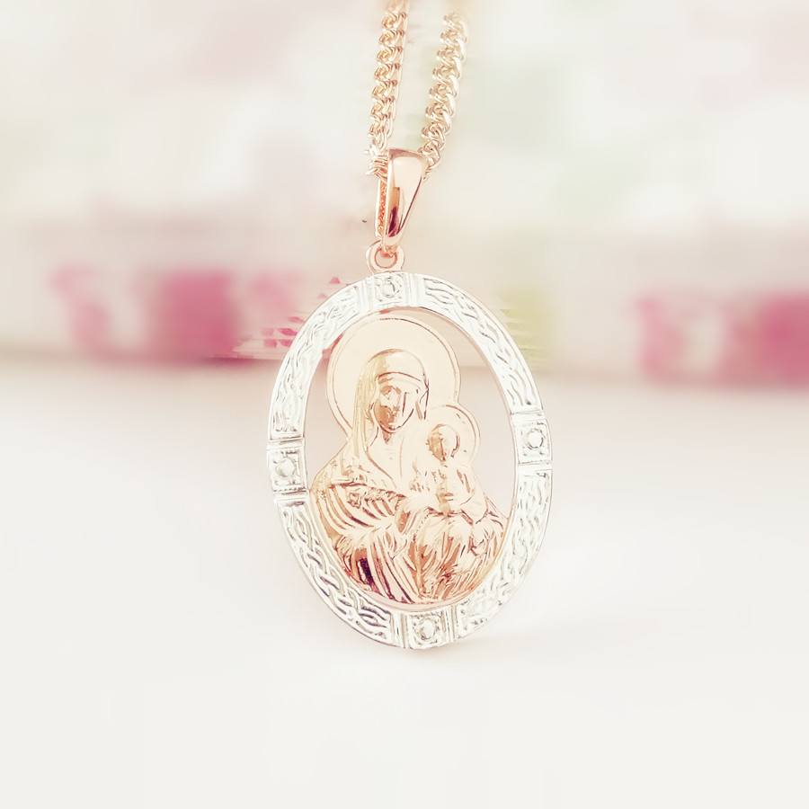 Blessed Virgin Mary And Son Pendant Necklace 2018 New Fashion Religious Jewelry Trendy 585 Gold Color Women Jewelry