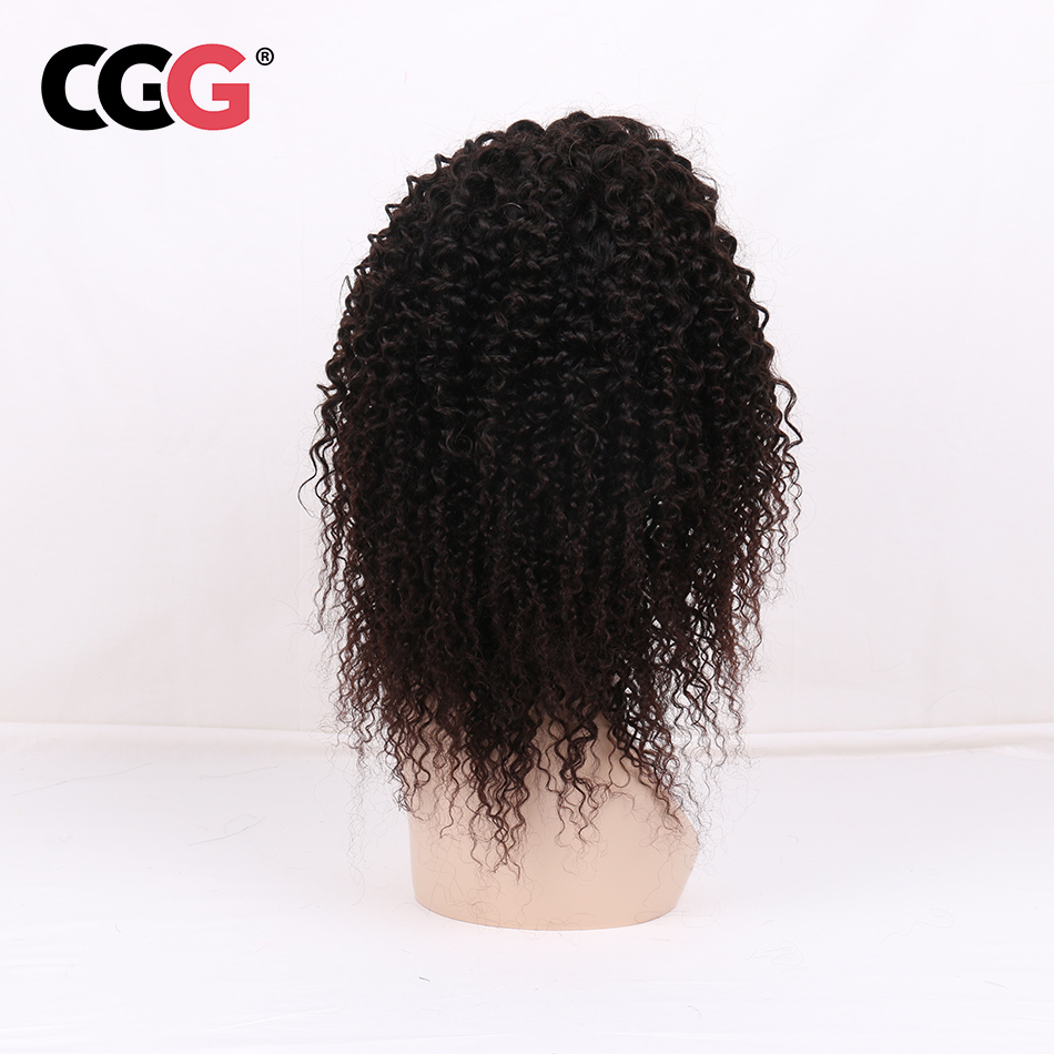 CGG  4*4 Lace Frontal Kinky Curly Human Hair Wigs With Baby Hair Peruvian Non-Remy Hair Natural Color Medium Brown Swiss Lace
