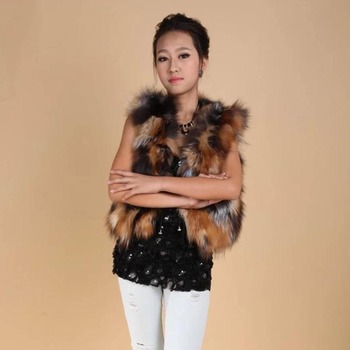 New Winter Women Short Natural Real Fox Fur Vest Women's Sleeveless Jacket Female Natural Fox Fur Vest Trendy Coats image