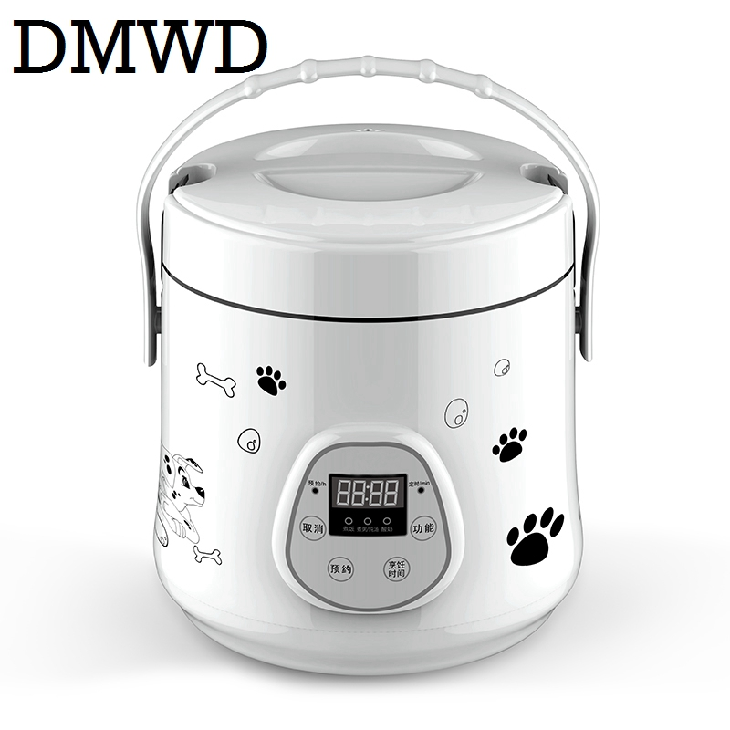 DMWD Multifunction Electric mini rice cooker heating lunch box stew soup timing Cooking Machine eggs steamer food lunchbox 1.6L 220v 600w 1 2l portable multi cooker mini electric hot pot stainless steel inner electric cooker with steam lattice for students