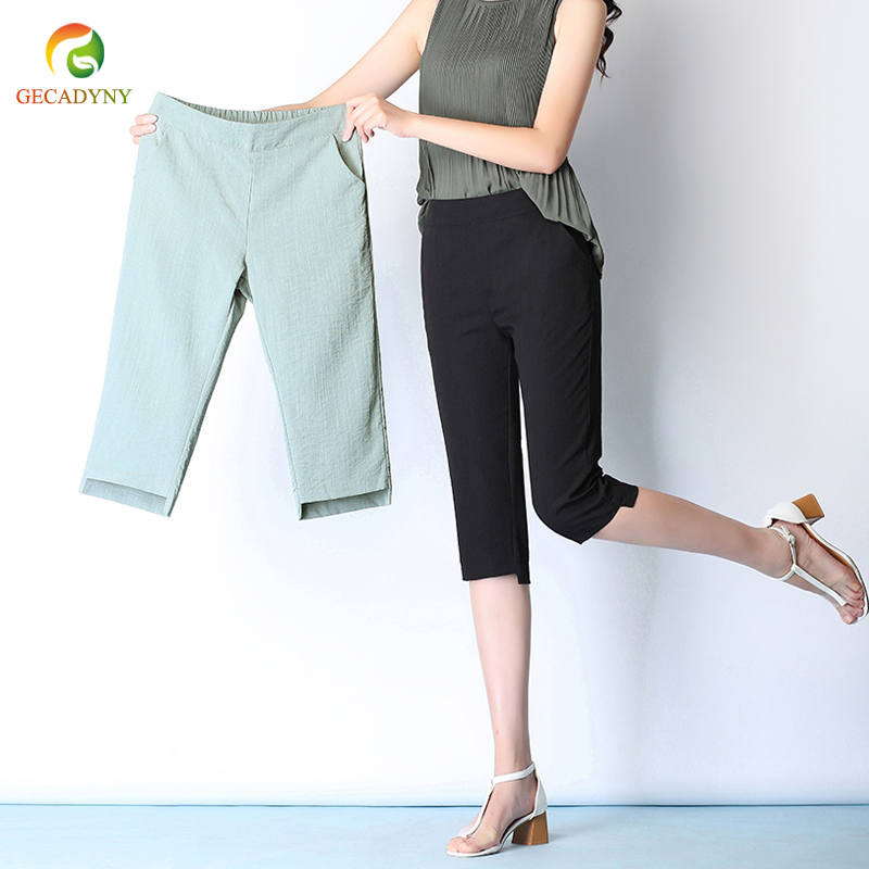 Vintage Women Linen   Pants   Plus Size 2019 Summer   Pants     Capris   Loose Thin Fabric Linen Cotton Ice Silk Harem   Pants   Women