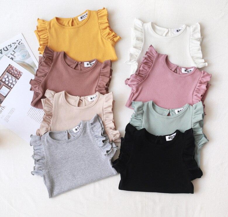 97a2f7124 2019 العلامة التجارية الجديدة الطفل الرضيع طفل الاطفال ملابس طفلة قمم تي  شيرت الأطفال كشكش أكمام