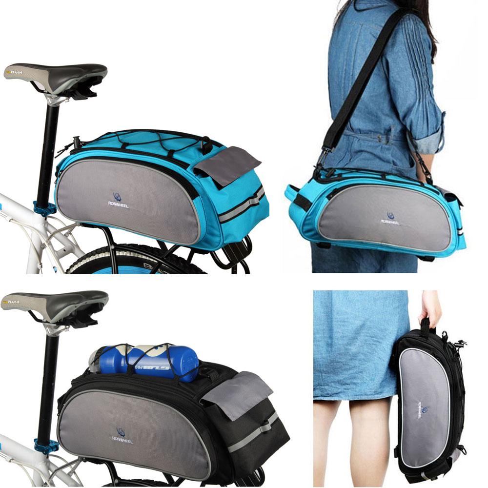Roswheel bicicleta saco multifuncional 13l cauda saco traseiro sela ciclismo cesta rack tronco bolsa de ombro