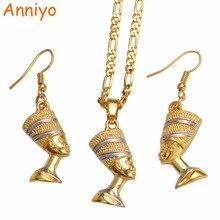 Anniyo Египетский Нефертити королева кулон с портретом ожерелье и серьги египетские женщины, два тона африканские ювелирные изделия вечерние наборы# 098906B