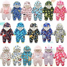 2019 autumn Winter Warm baby girl boy Snowsuit down cotton baby Rompers hoodies Newborn overalls clothes kids children jumpsuit цены онлайн