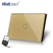 цена на Remote Dimmer Wallpad US/AU Standard Glass Touch Panel Switch 110~250V Gold Dimmerable Wall Light Switch With Remote Controller