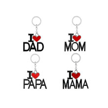 Mama Papa Tag Engraved Family Pendant Keychain Red Black Mother Fathers Love Day Key Chains Mom and Dad Jewelry(China)