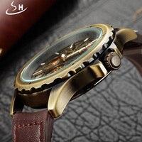 Shenhua коричневые из натуральной кожи черный ободок Золотой Скелет 3 набрать моды Открыть работа Дизайн Для мужчин автоматические часы лучший...