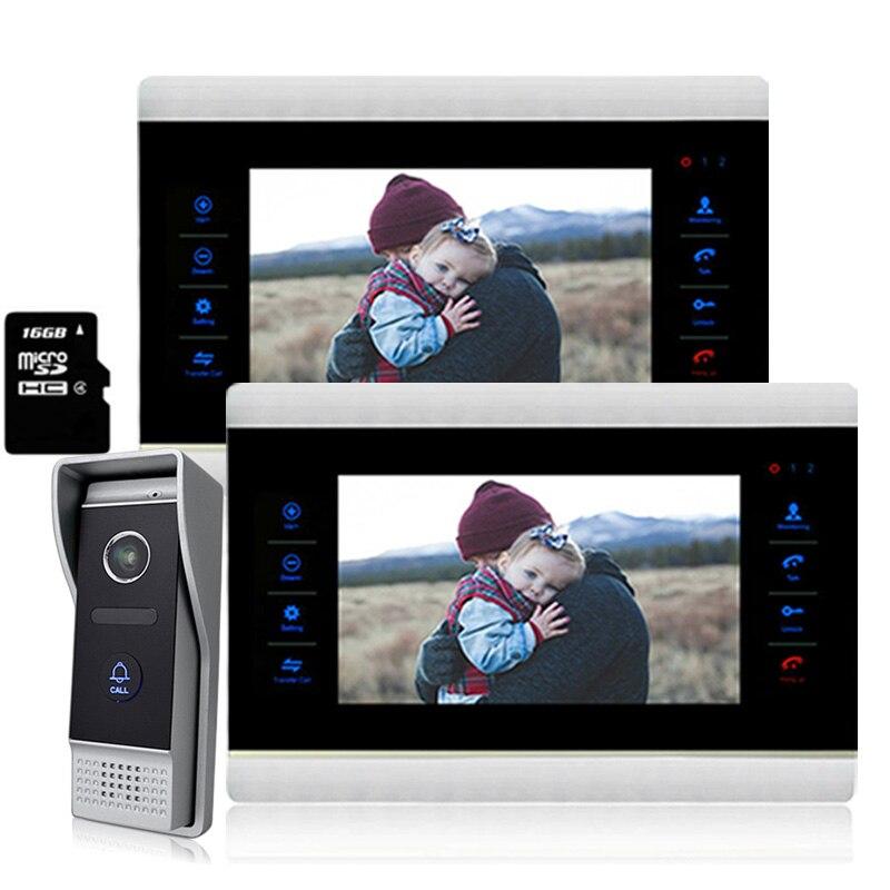 Homefong 2V1 7 pouce Couleur TFT LCD Vidéo Tactile Panneau Moniteur Téléphone Visuel de Porte Sonnette Interphone 1200TV Lignes Nuit Vision Caméra système