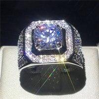 Solitaire мужское кольцо 925 пробы серебряные круглые 3ct 5A камень циркон Обручение обручальное кольцо кольца для Для мужчин палец ювелирные издел