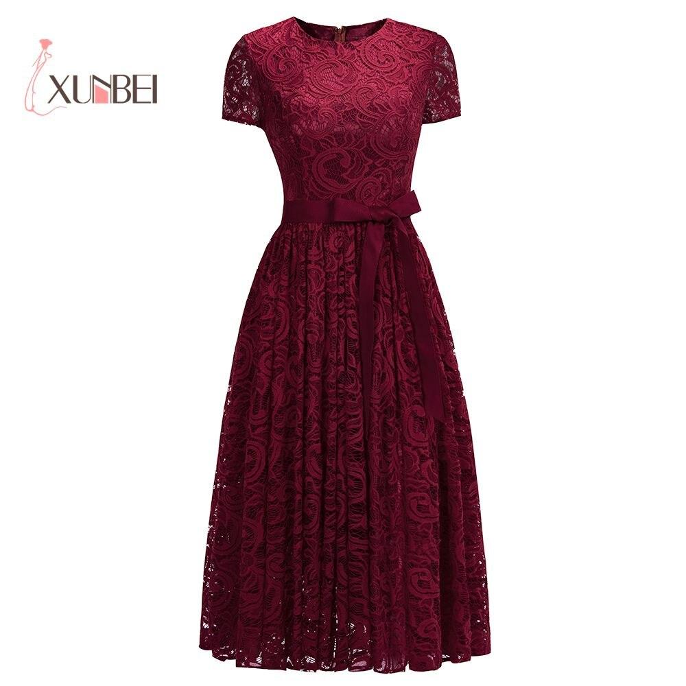 Vestido de gala Burgundy Lace Short   Evening     Dresses   2019 Short Sleeves Detachable Sash Ankle- Length Formal Prom Party   Dresses