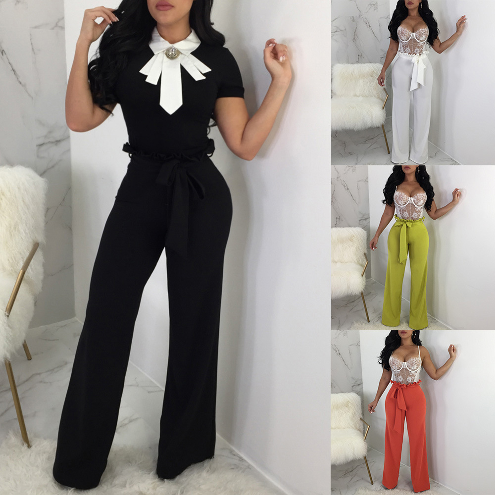 Women's Clothing Pants & Capris New Hot Women Fashion Solid Color High Waist Wide Leg Long Pants Ladies Elegant Loose Straight Trousers With Belt