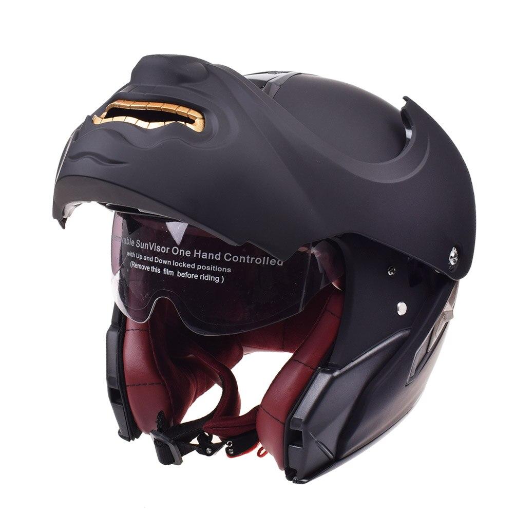 Tête de mort visage Touring casque de moto modulaire casque Flip Up motos Chopper rétro prédateur Vintage Cruiser monstres casques