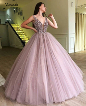 2018 Evening Dresses Sparkle Beaded Tutu Ball Gowns Crystal Pearls Vintage Long V-neck Prom Gown 1