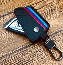 car accessories M-Colored Black Carbon Fiber Leather Key Holder with Keychain for BMW 2016-up  X1, 2014-up X5, 2015-up X6, 2017- велосипед specialized sirrus expert carbon x1 2016