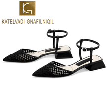 KATELVADI Women Low Heel Shoes Ankle Strap Sandals Black Mesh Chic Footwear Size 35-40 K-402