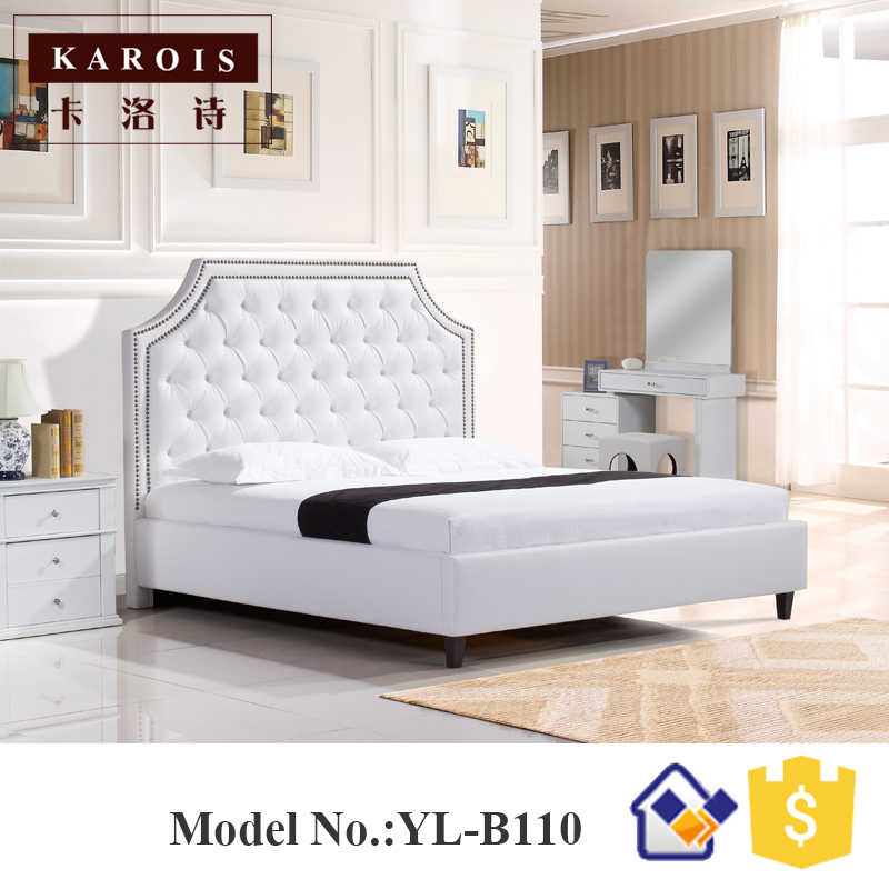 Luxury diamond design model white pu leather wooden bedroom bed,muebles de dormitorio,bedroom furniture china