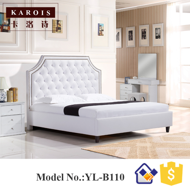 Luxury Diamond Design Model White Pu Leather Wooden Bedroom Bed Muebles De Dormitorio Furniture China