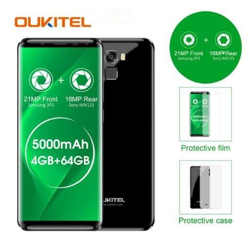 Oukitel K5000 5000mAh 4GB+64GB MTK6750 Octa Core 21MP+<font><b>16MP</b></font> Mobile <font><b>Cellphone</b></font> 5.7&#8243; HD 18:9 4G Fingerprint Mobile Phone in stock