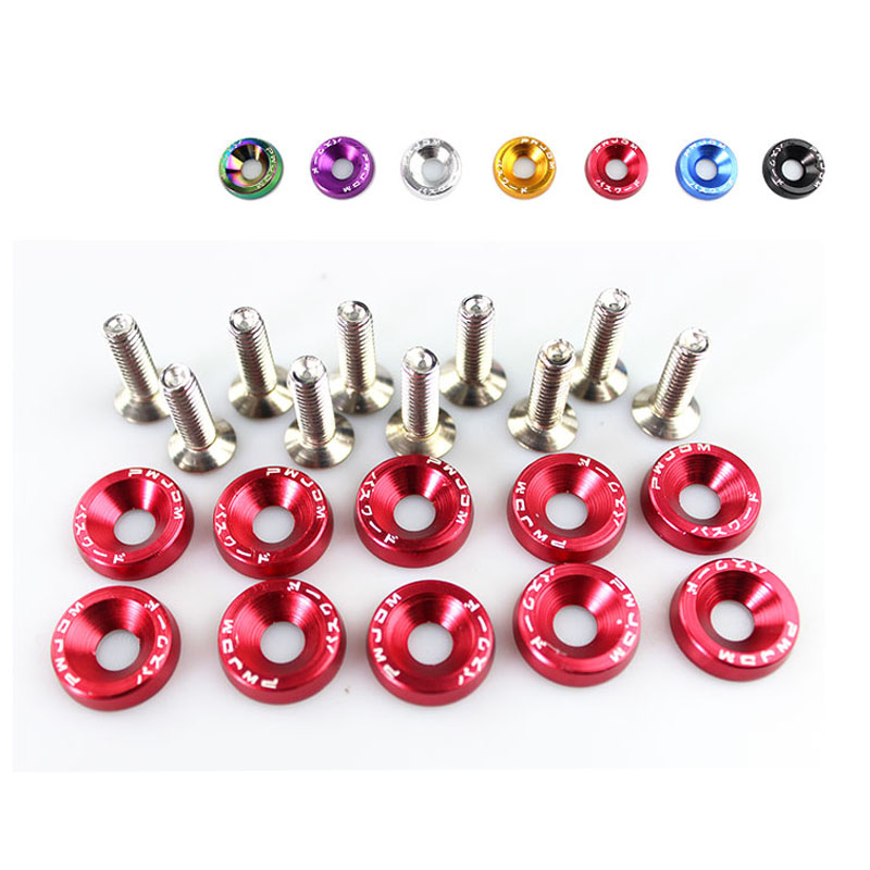 Car Styling 10PCS M6x20mm Red JDM Bolt Aluminum Fender Bumper Washer License Plate Bolt Engine Bay Dress Screw Billet Kit