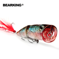 Hot Model Retail Fishing Lures Hard Bait Assorted Colors Bearking Popper 70mm 11g Floating Topwater Baits