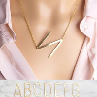 Stainless steel A Z 26 Letter Necklaces Set Big Letter Initial Necklace Gold Silver Personalized Necklace Collier Set