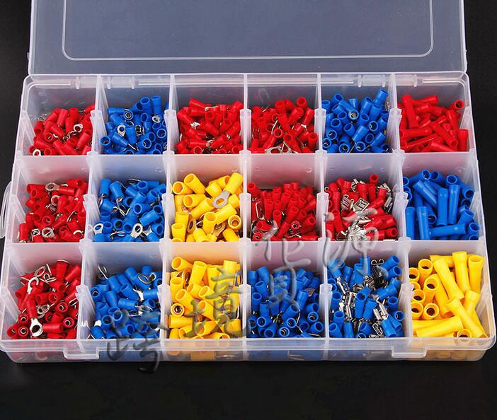 цена на 1200Pcs Assorted Crimp Terminals Set Kits Insulated Electrical Wiring Connectors Insulated Cord Pin End Terminal Kit