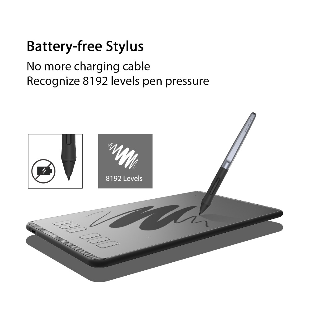 HUION Inspiroy H640P Battery-Free Digital Drawing Tablets Graphics Pen  Tablet with 8192 Pressure Levels Stylus and Gift Glove