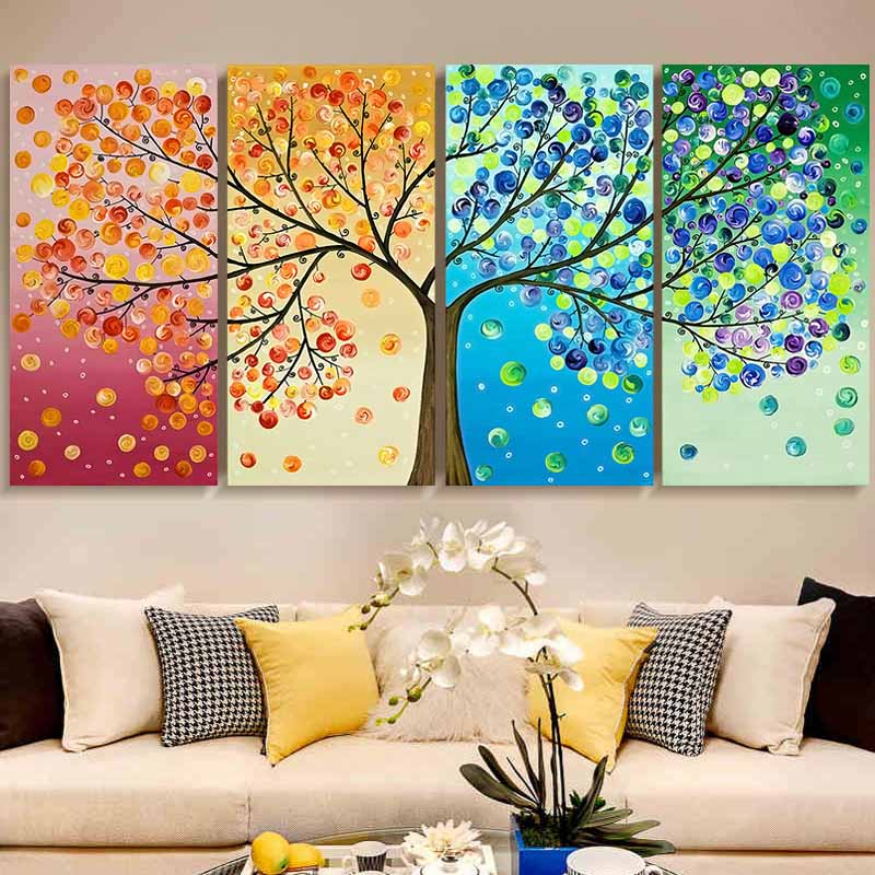 3D Diy DMC counted cross stitch printed on canvas Kits chinese four picture kits for embroidery four seasons beauty trees gift