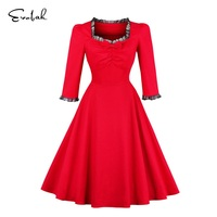 Women Wedding Party Red Dress Retro Vintage 50s Cocktail Party Swing Dresses Slim A Line Dress
