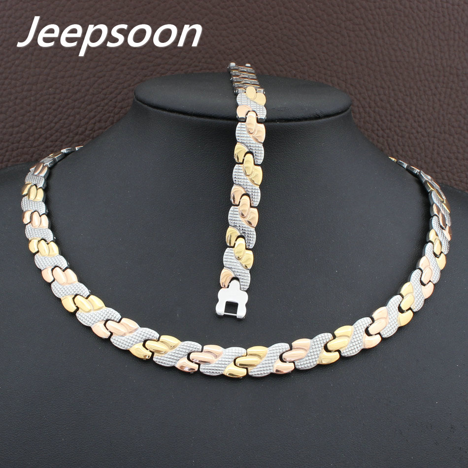 Hot Sell Wholesale Newest Fashion Stainless Steel Metal Silver and gold color Necklace And Bracelet Jewelry Set SFKGCOEI